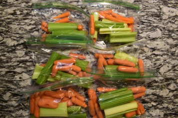 Bagged Celery, Carrot, and Cucumber Meal Prep